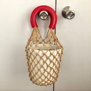 Staud Moreau Bag / White/Red Natural